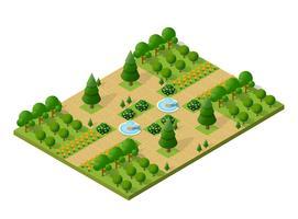 3d isométrica árvores floresta elementos de natureza campismo vetor