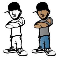 Ilustração em vetor legal jovem personagem de desenho animado masculino