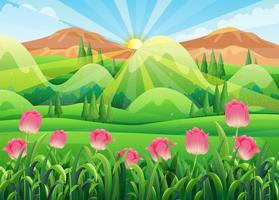 Cena com tulipas cor de rosa no jardim vetor