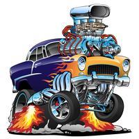 Carro de músculo clássico hot rod, chamas, grande motor, ilustração vetorial de desenhos animados