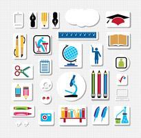 Conjunto de silhuetas de objetos de volta à escola vetor