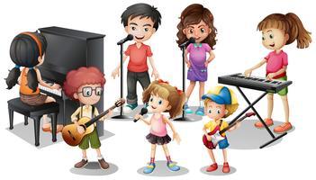 Crianças, tocando, instrumentos, e, cante vetor