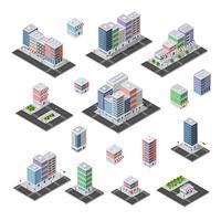 Conjunto de cidade de isométrica de infra-estrutura urbana