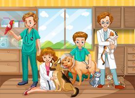 Uma equipe de médicos veterinários na clínica vetor