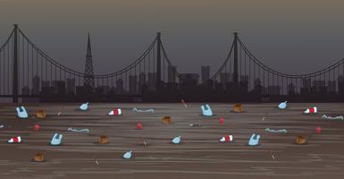 Uma poluição da água na cidade grande vetor