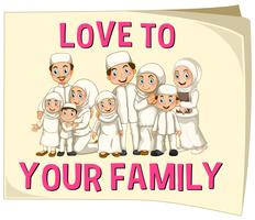 Família muçulmana vestindo roupas brancas vetor