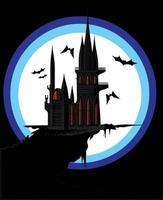 castelo negro e escuro localizado na beira de uma alta colina deserta vetor