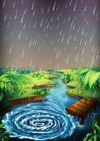 Cena rio, com, chuva, queda vetor