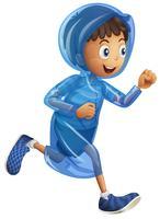 Menino, em, azul, raincoat vetor