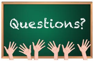 Perguntas da palavra em placas com muitas mãos vetor