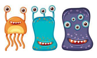 Três alienígenas com muitos olhos vetor