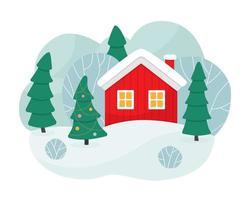 cena de inverno com uma casa vermelha, árvores e uma árvore de Natal. casa vermelha nas colinas nevadas. Feliz Natal. vetor