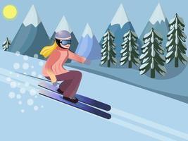 mulher esquiando. paisagem de inverno nas montanhas. ilustração vetorial em estilo cartoon plana vetor