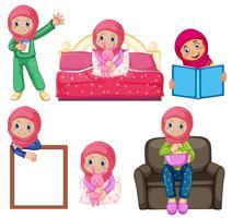 Um conjunto de garota muçulmana e atividade vetor