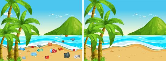 Antes e depois da limpeza da praia vetor