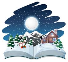 Tema de inverno aberto livro ao ar livre vetor