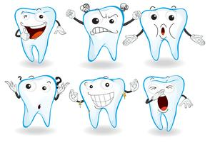 Dentes humanos com expressões faciais vetor
