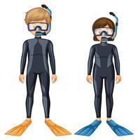 Dois mergulhadores com máscara e barbatana vetor
