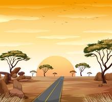 Cena de savana com estrada e pôr do sol