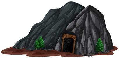 Uma mina de pedra no fundo branco vetor