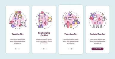tipos de conflito na tela da página do aplicativo móvel vetor
