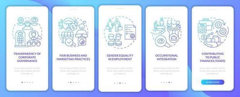 csr importa tela da página do aplicativo móvel de integração de gradiente azul vetor