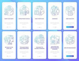 conjunto de tela de página do aplicativo móvel relacionado à licença maternidade vetor