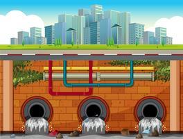 Um, dreno, sistema, subterrâneo, de, cidade grande vetor