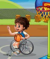 Menino, ligado, cadeira rodas, basquetebol jogando vetor