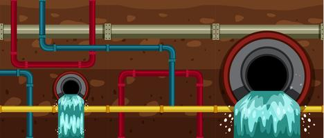 Sistemas de drenagem de tubulação subterrânea da cidade vetor