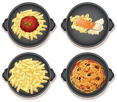 Um conjunto de pratos de massa italiana vetor