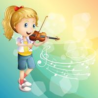 Menina, jogando violino vetor