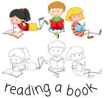 Livro de leitura de personagem de estudante vetor