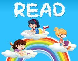 Meninas, leitura, livro, ligado, nuvem vetor