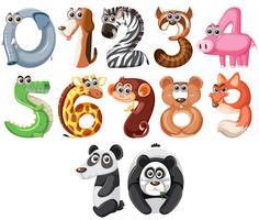 Conjunto de animais fofos número vetor