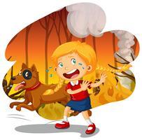 Uma menina e cachorro na floresta de incêndio