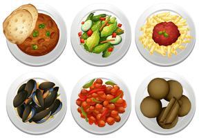 Pratos e refeição no fundo branco vetor