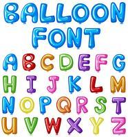 Projeto de fonte de balão para alfabetos ingleses em muitas cores vetor