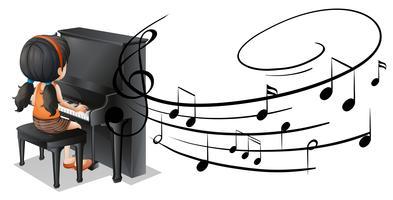 Menina tocando piano com notas musicais no fundo vetor