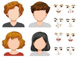 Personagens humanos com rostos diferentes