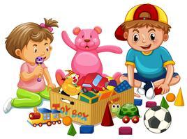 Irmão e irmã jogar brinquedos vetor