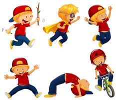 Menino, em, camisa vermelha, fazendo, diferente, ações vetor