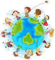 Meninos e meninas brincando ao redor do mundo vetor