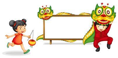 Modelo de fronteira com criança chinesa e dragão