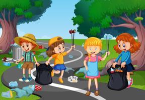 Crianças voluntariado limpando parque vetor