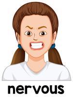 Um rosto de garota nervosa vetor