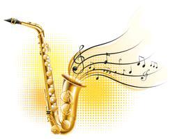 Saxofone clássico com notas musicais vetor