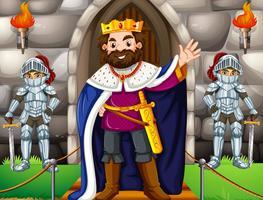 Rei e dois cavaleiros no castelo vetor