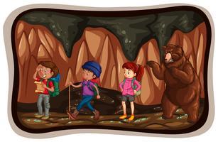 Pessoas, explorar, a, caverna vetor