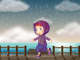 Garota correndo na chuva no cais vetor